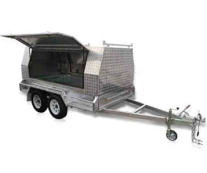 The 10 x 5 Tandem Tradesman with one side door open